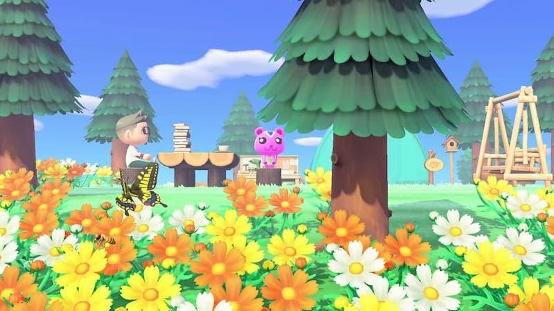 花畑でベンチに座っている人と動物